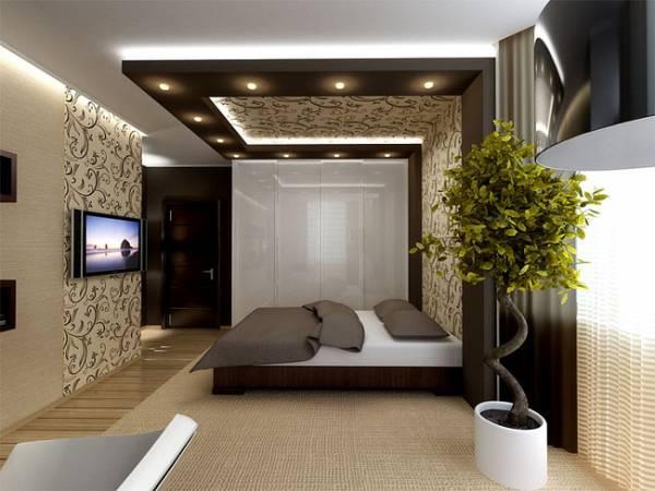 спальня в комнате студии