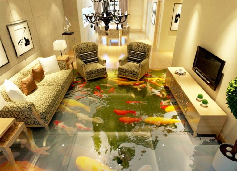 наливной пол с рыбками в гостиной