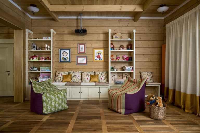 интерьер детской комнаты в деревянном доме