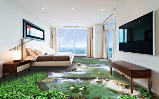 наливной пол с водопадом в гостиной