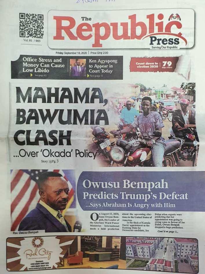 Newspaper headlines of Friday, September 18, 2020 91