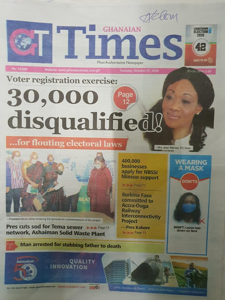 Newspaper headlines of Tuesday, October 27, 2020 60