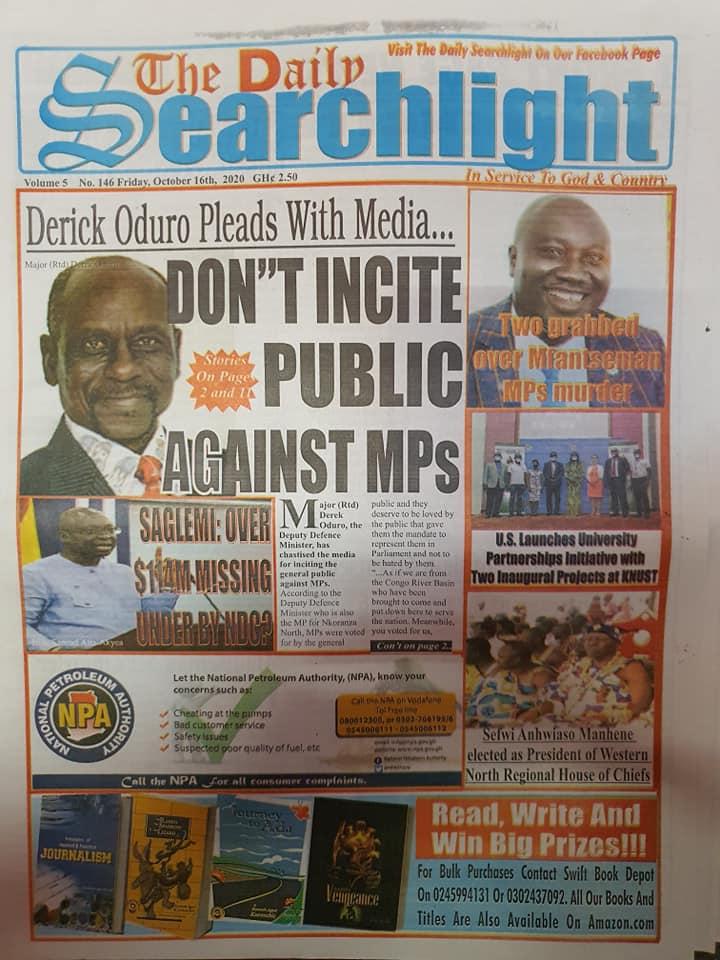Newspaper headlines of Friday, October 16, 2020 89
