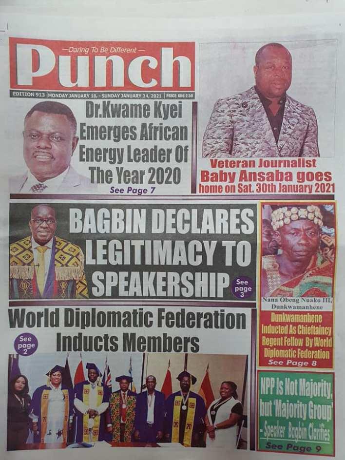 Newspaper headlines of Monday, January 18, 2021 98
