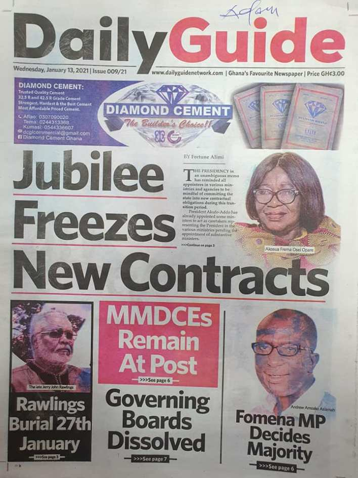 Newspaper headlines of Wednesday, 13 January , 2021 65