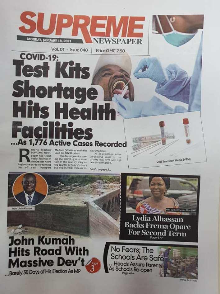 Newspaper headlines of Monday, January 18, 2021 97