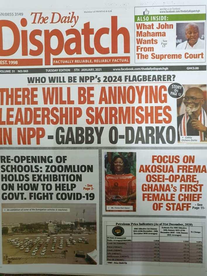 Newspaper Headlines of Tuesday, 5 January 2021 13