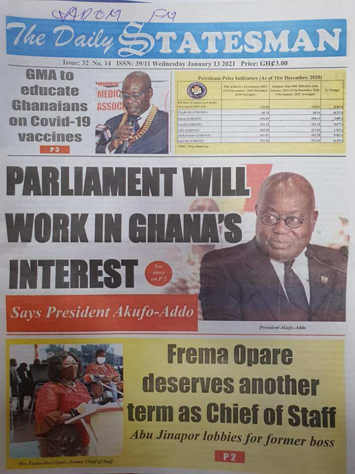 Newspaper headlines of Wednesday, 13 January , 2021 70