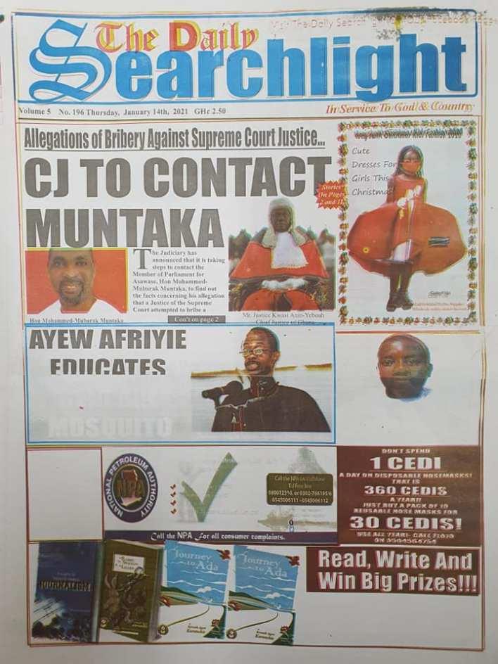 Newspaper headlines of Thursday, January 14, 2021 7