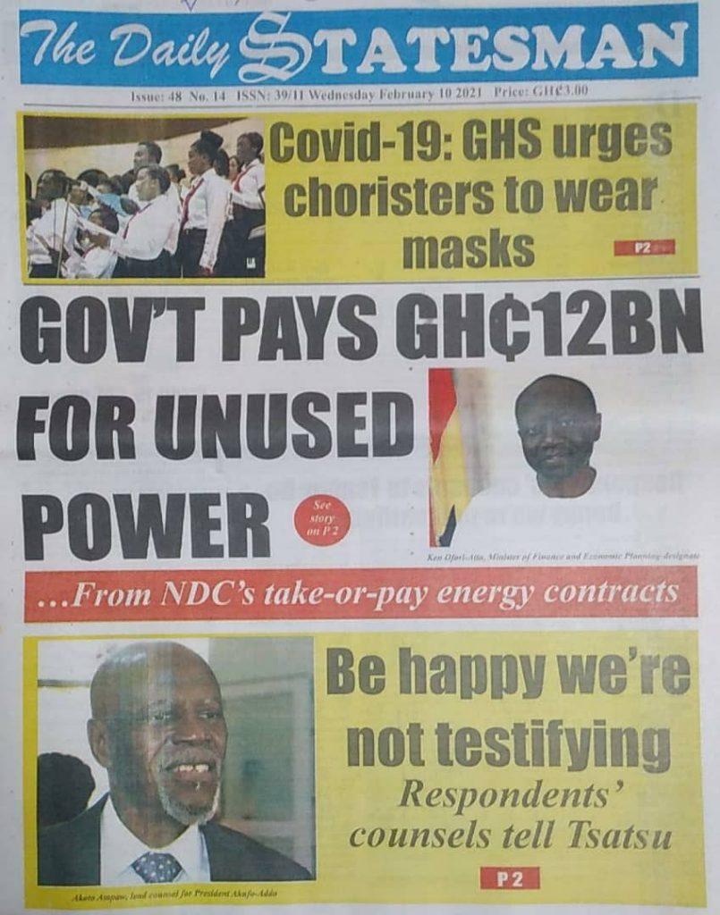 Newspaper headlines of Wednesday, February 10, 2021 18