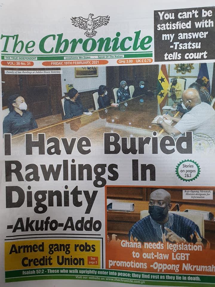 Newspaper headlines of Friday, February 19, 2021 86