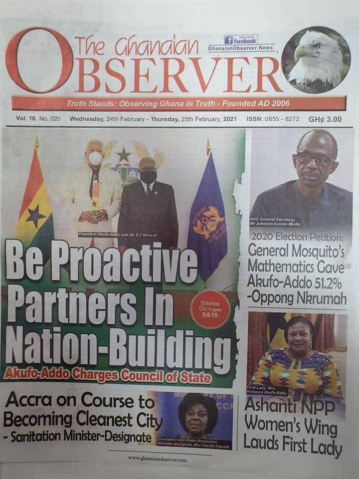 Newspaper headlines of Wednesday, February 24, 2021 101