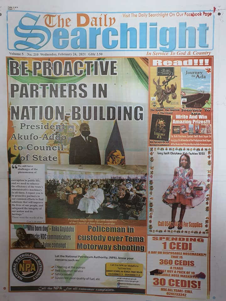 Newspaper headlines of Wednesday, February 24, 2021 94