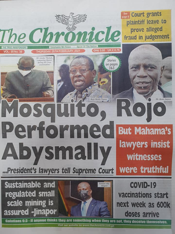 Newspaper headlines of Thursday, February 25, 2021 58