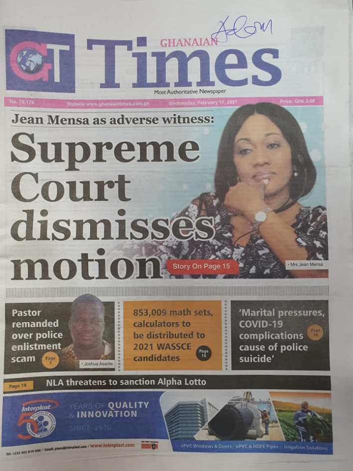 Newspaper headlines of Wednesday, February 17, 2021 96