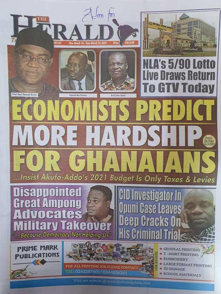 Newspaper Headlines of Monday, March 15, 2021 105
