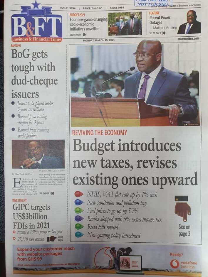 Newspaper Headlines of Monday, March 15, 2021 112