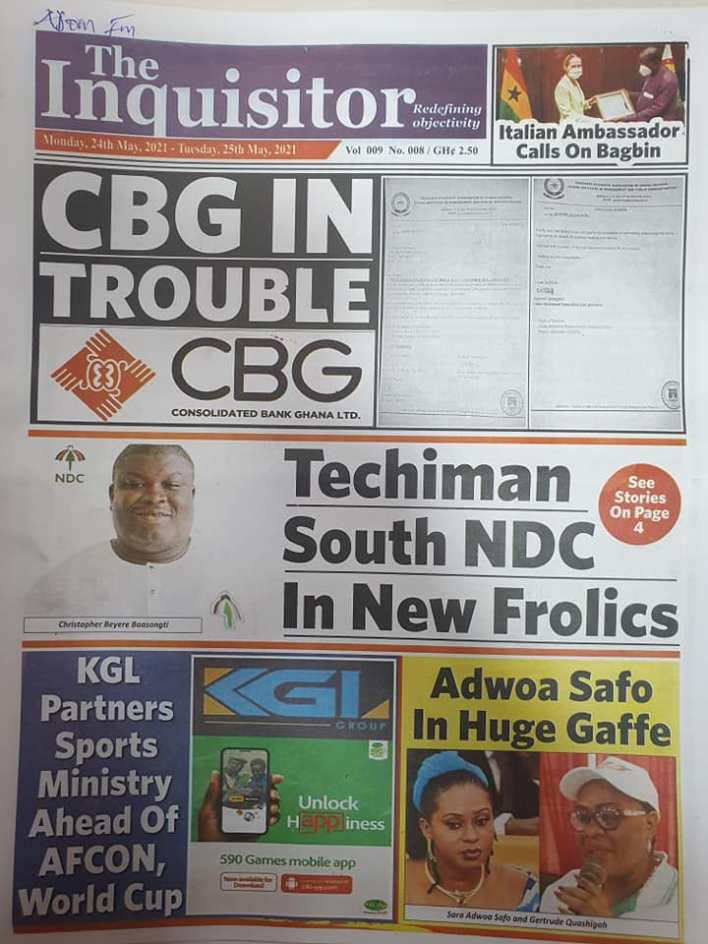 Today's Newspaper headlines: Monday, May 24th ,2021 1