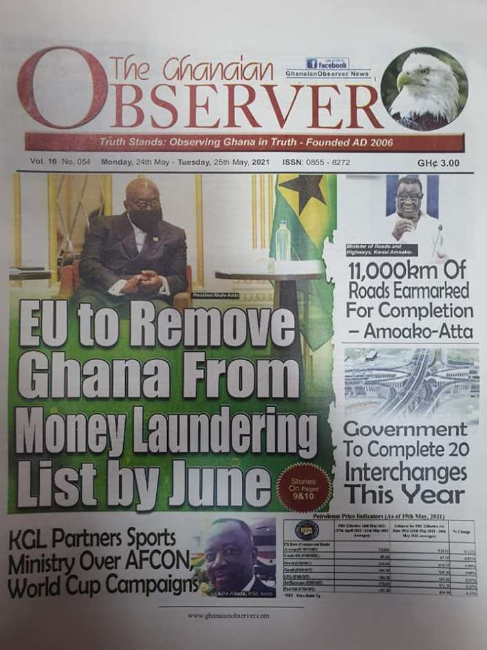 Today's Newspaper headlines: Monday, May 24th ,2021 7