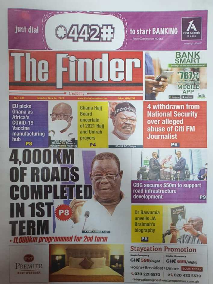 Today's Newspaper headlines: Monday, May 24th ,2021 15