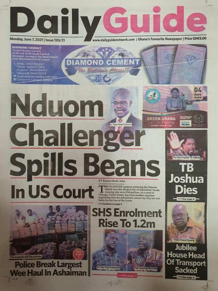 Newspaper headlines of Monday, June 7, 2021 10