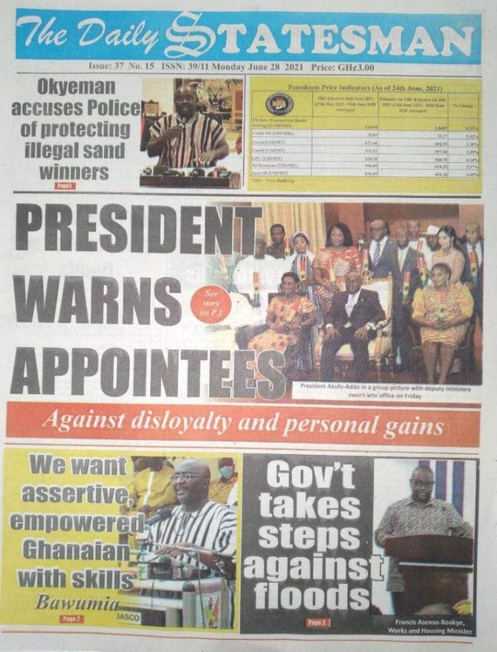 Newspaper headlines of Monday, June 28, 2021 5