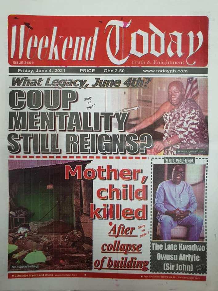 Newspaper headlines of Friday, June 4, 2021. 126