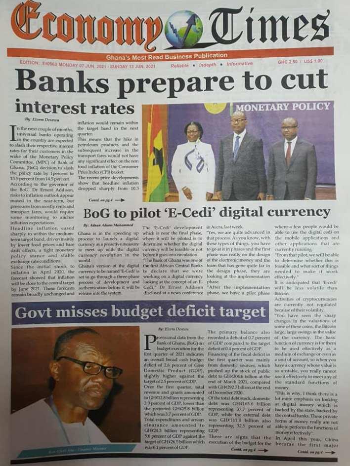 Newspaper headlines of Monday, June 7, 2021 6
