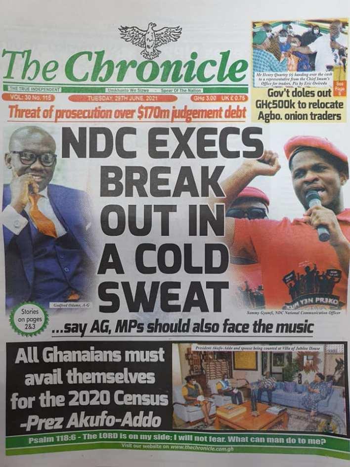 Newspaper headlines of Tuesday, June 29, 2021 1