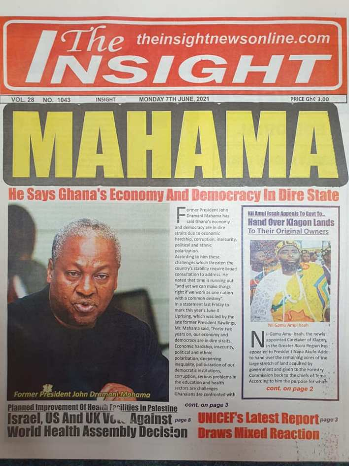 Newspaper headlines of Monday, June 7, 2021 21