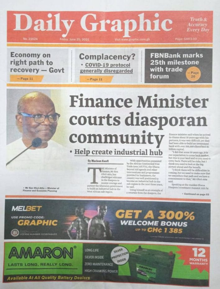 Newspaper headlines of Friday, June 25, 2021 8