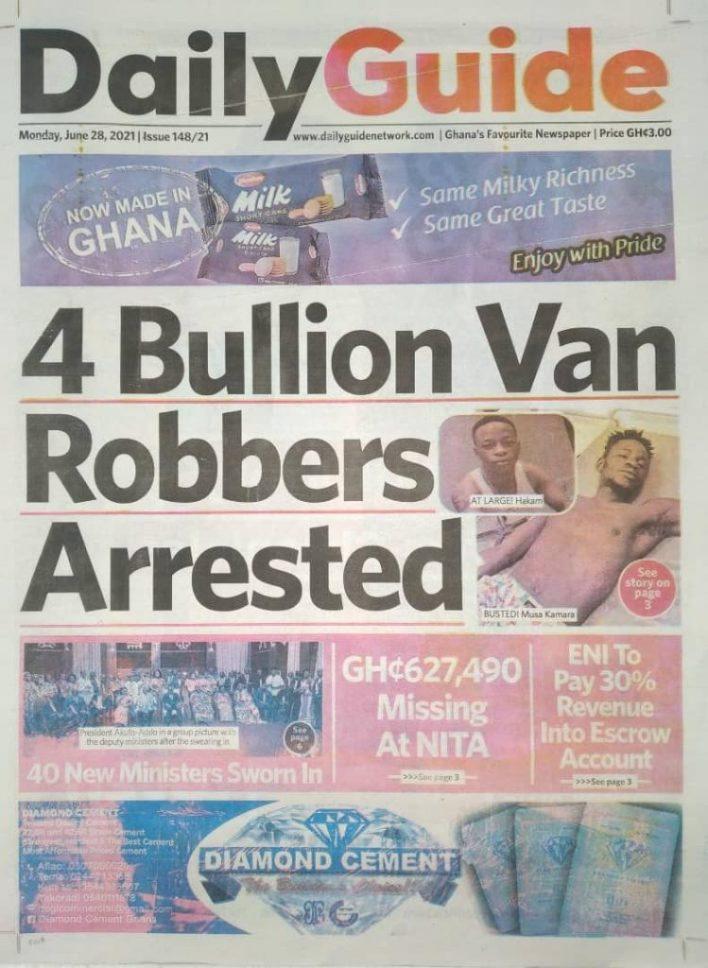 Newspaper headlines of Monday, June 28, 2021 6