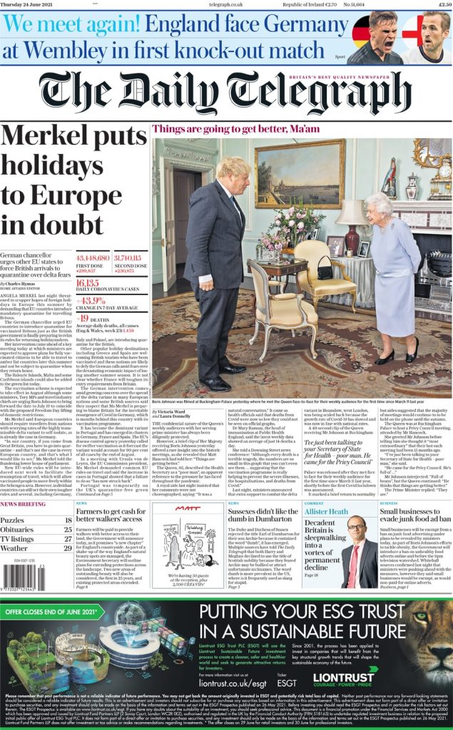 Newspaper headlines of Friday, June 25, 2021 4