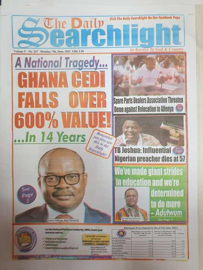 Newspaper headlines of Monday, June 7, 2021 13