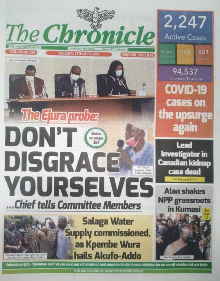 Today's Newspaper Headlines, Tuesday July 13, 2021 8