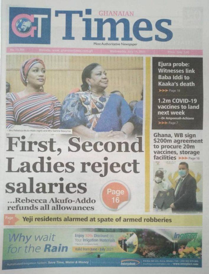 Today's Newspaper Headlines Wednesday July 14, 2021- Photos 38