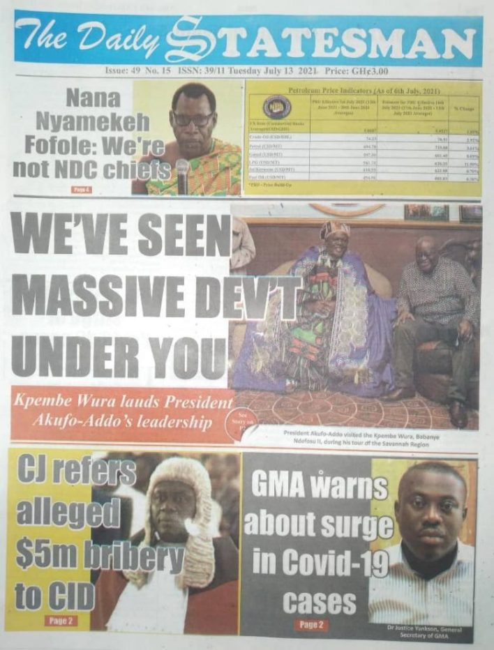 Today's Newspaper Headlines, Tuesday July 13, 2021 6