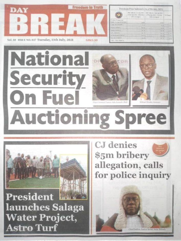 Today's Newspaper Headlines, Tuesday July 13, 2021 1
