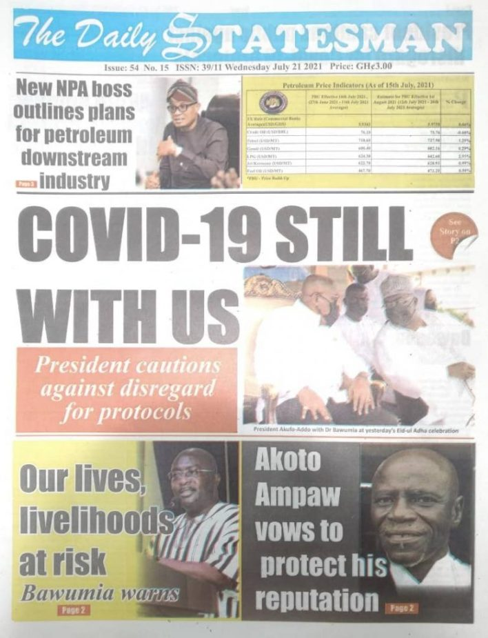 Today's front pages: Wednesday, July 21, 2021 3