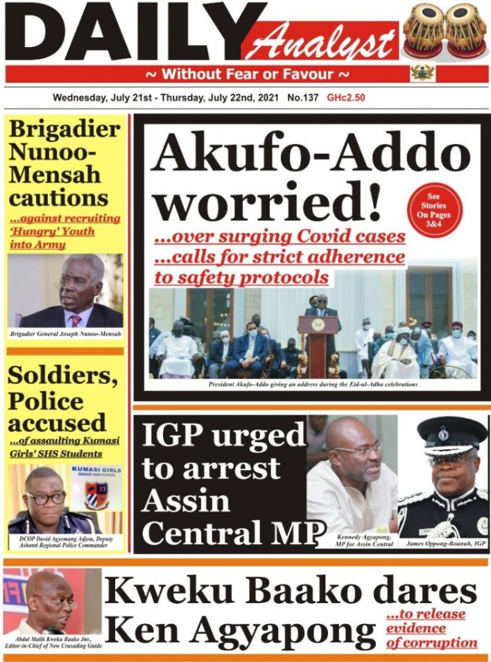 Today's front pages: Wednesday, July 21, 2021 4