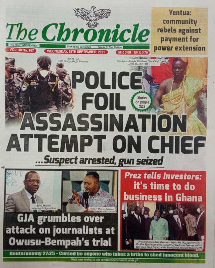 Newspaper Headline Of Wednesday, September 15, 2021 10