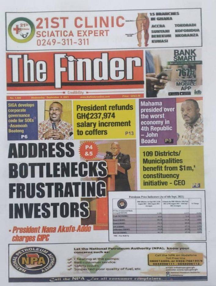 Newspaper Headline Of Wednesday, September 8, 2021 2