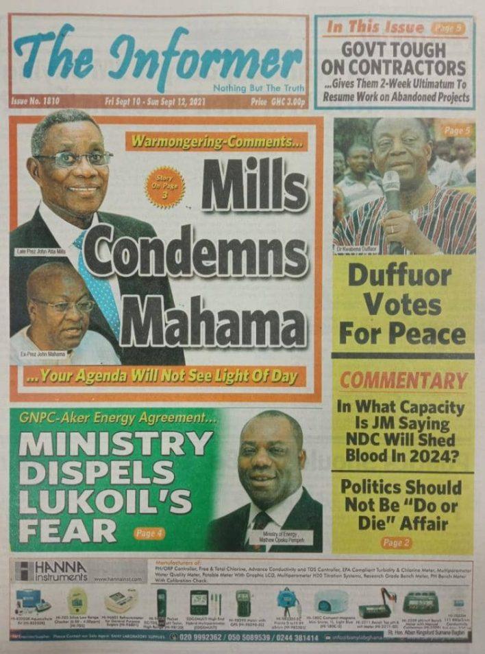 Newspaper Headline Of Friday, September 10, 2021 1