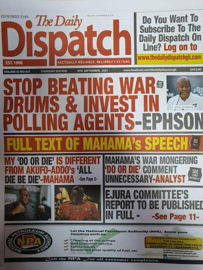 Newspaper Headline Of Thursday, September 9, 2021 1