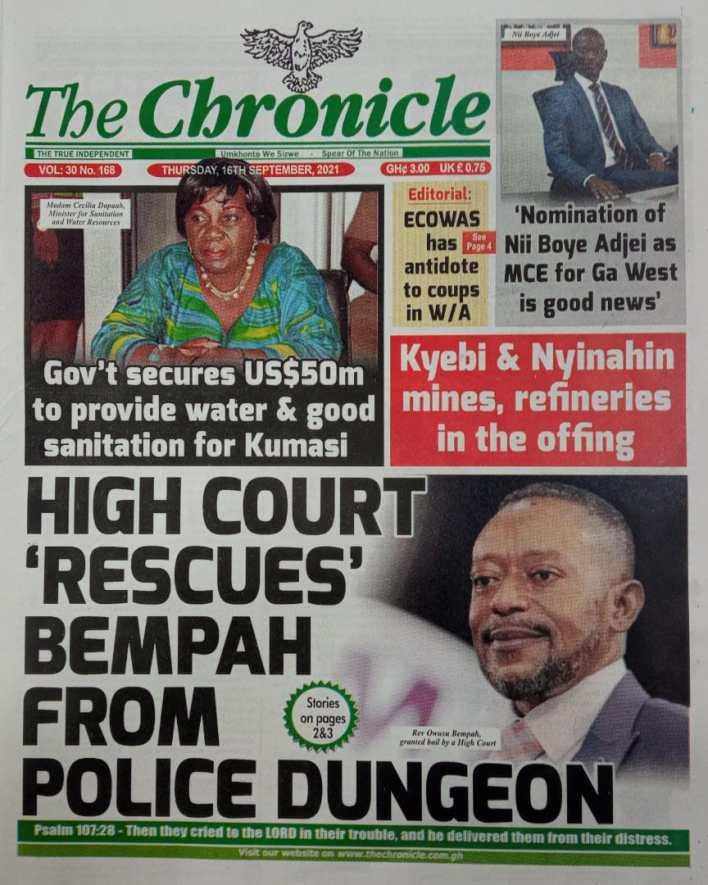 Newspaper Headline Of Thursday, September 16, 2021 2