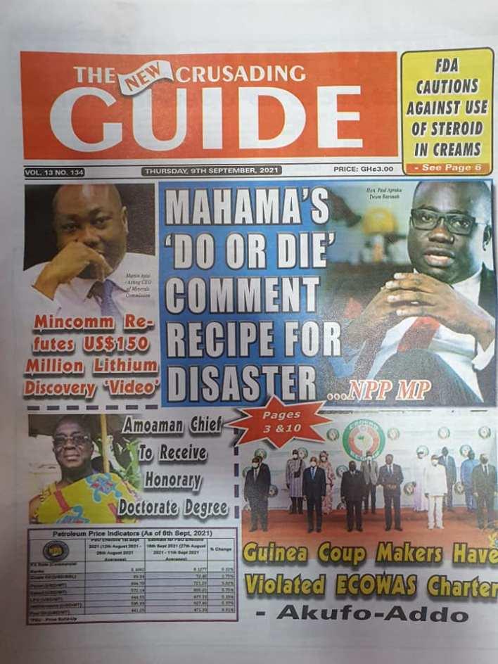 Newspaper Headline Of Thursday, September 9, 2021 8