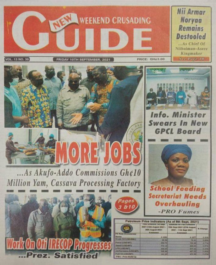 Newspaper Headline Of Friday, September 10, 2021 11