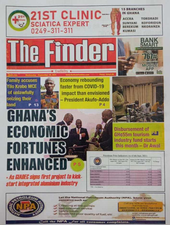 Newspaper Headline Of Wednesday, September 15, 2021 5