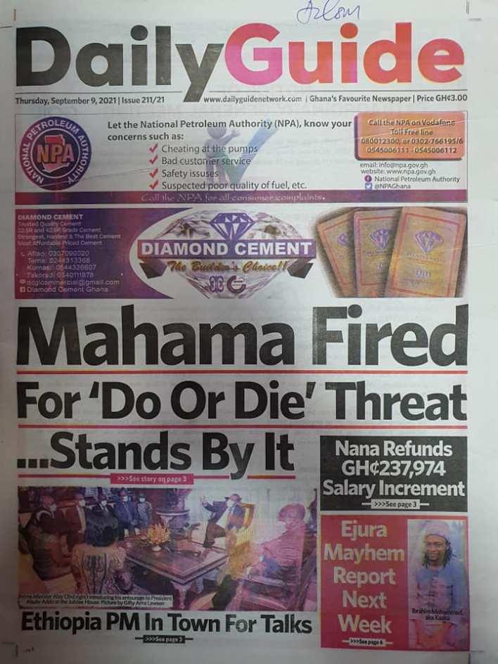 Newspaper Headline Of Thursday, September 9, 2021 7