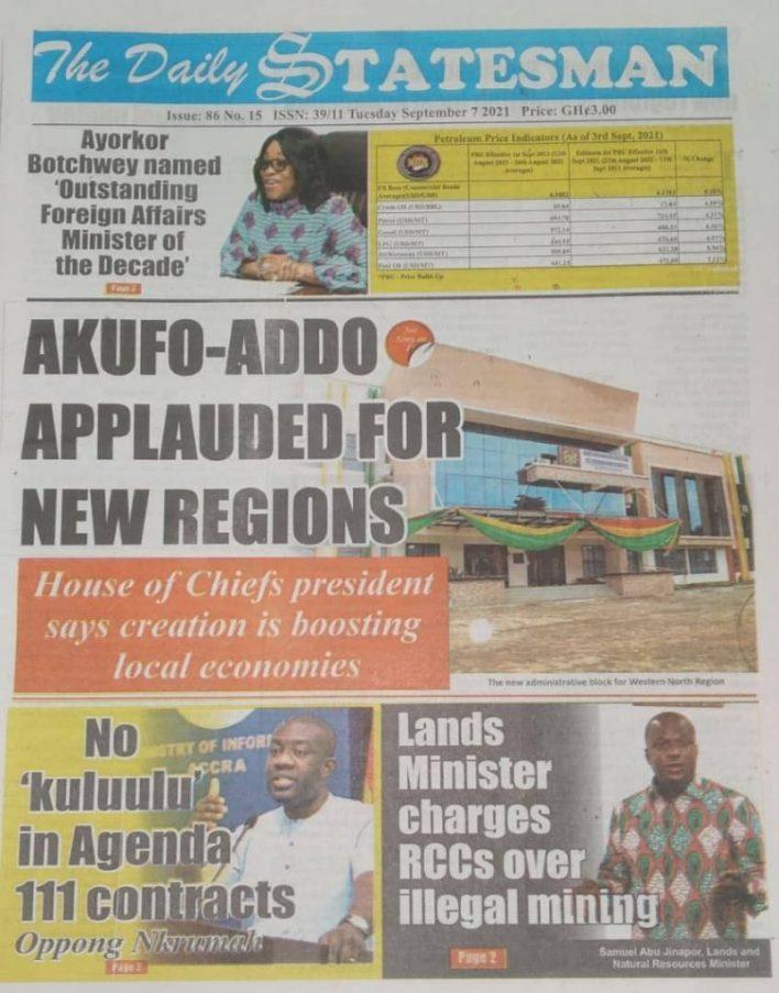Newspaper Headline Of Tuesday, September 7, 2021 8
